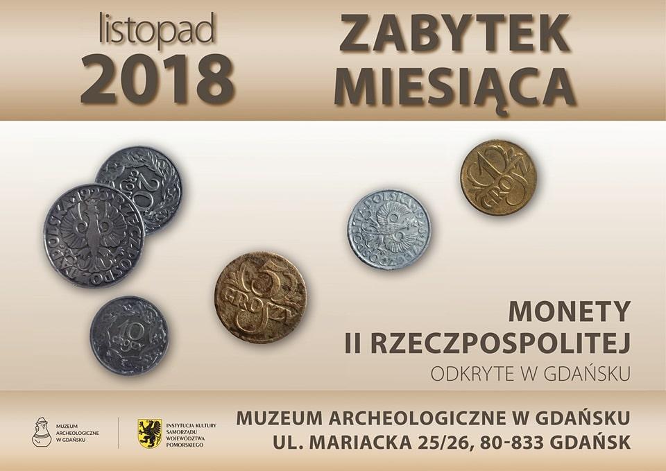 Monety II Rzeczpospolitej odkryte w Gdańsku - plakat