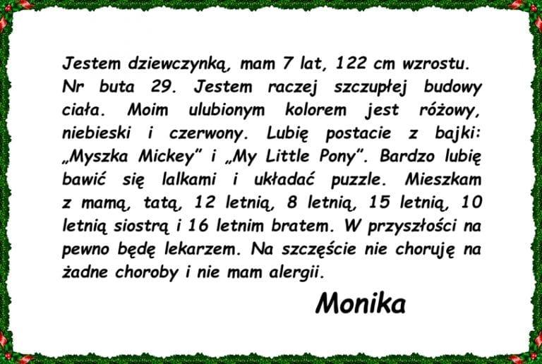 MOPR - list od Moniki