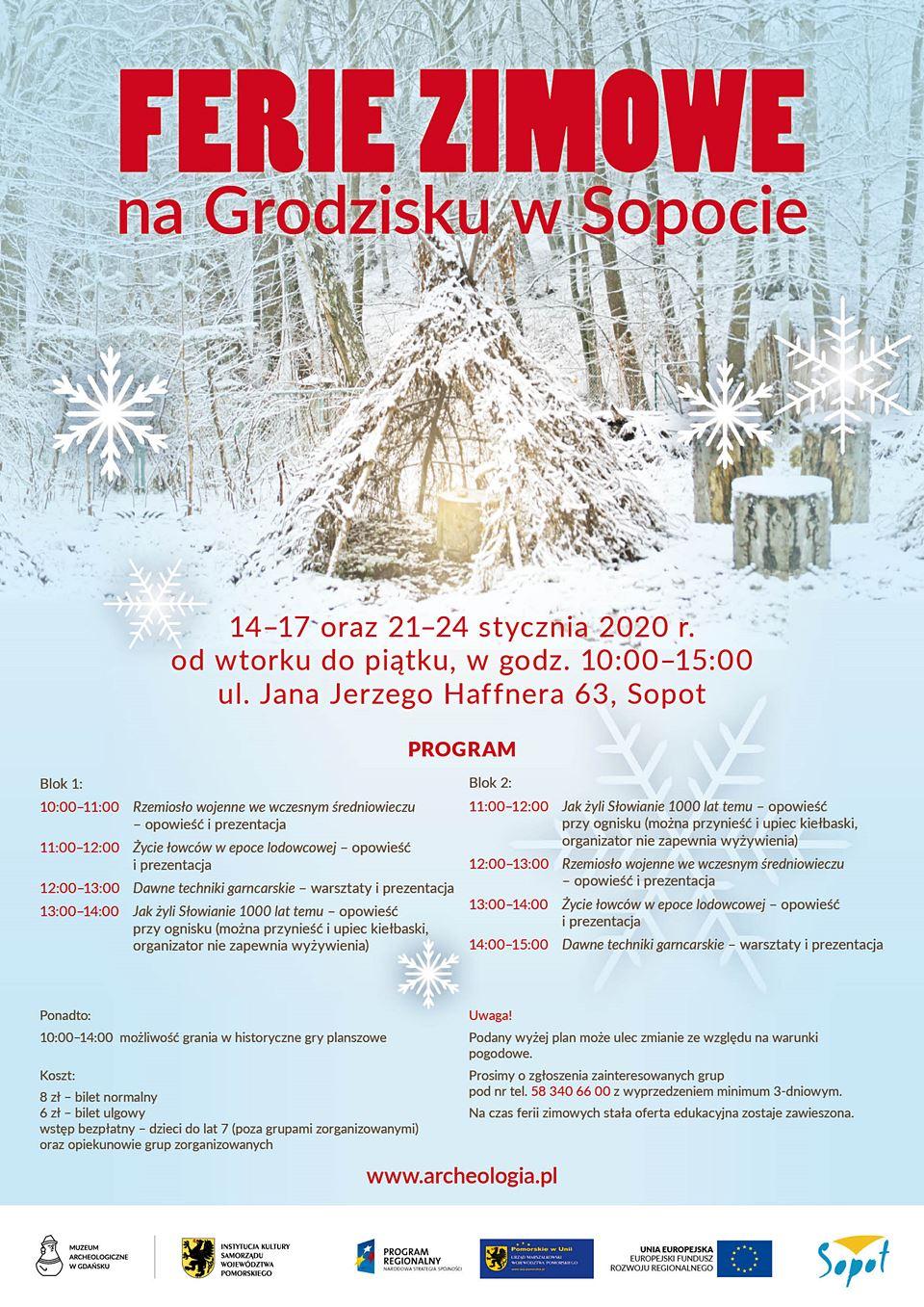 Ferie zimowe 2020 na Grodzisku w Sopocie - plakat