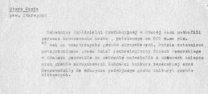 Notatka z lat 50-tych XX w. o odkryciach w Starej Jani (arch. MAG)