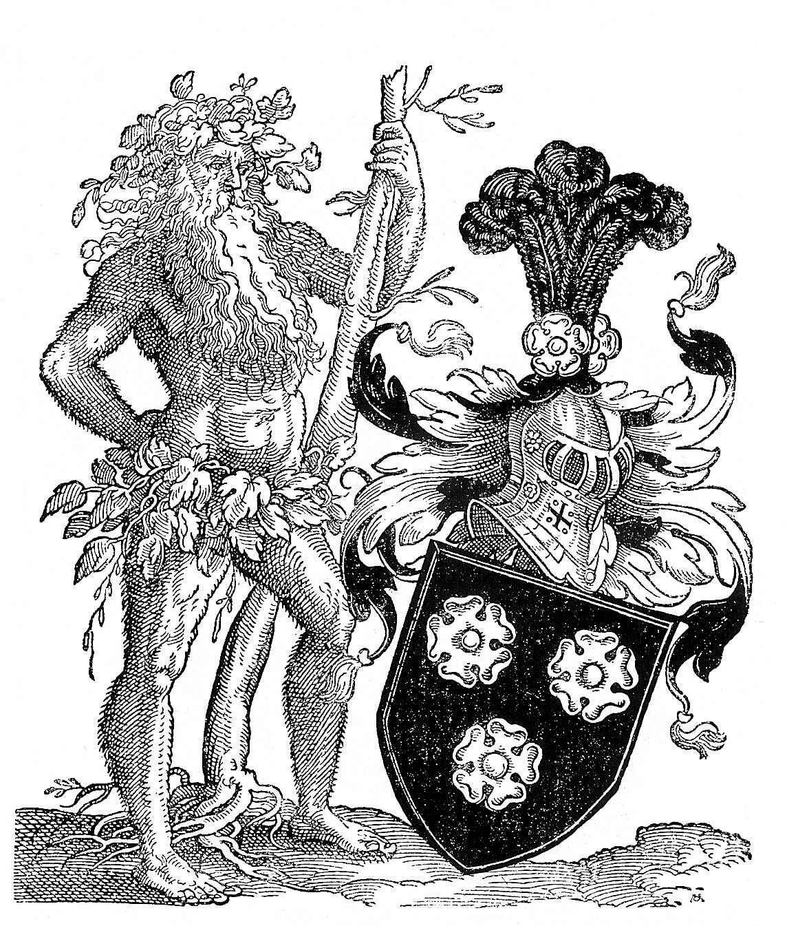 Czarno-biała rycina przedstawia nagiego brodatego mężczyznę, tzw. dzikiego człowieka, przepasanego liśćmi; obok postaci widać herb Holzhausen.